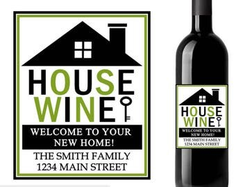 New home wine label, house wine label, housewarming wine label, custom wine labels, housewarming gift, realtor wine label, wedding gift