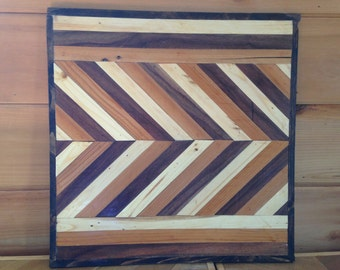 Rustic Wood Quilt Natural Wood Chevron