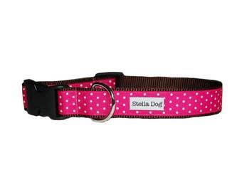 Hot Pink Swiss Dot Collar *FREE SHIPPING*
