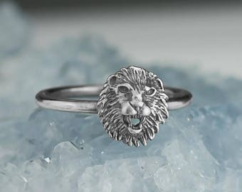 Sterling Silver Roaring Lion Ring Solid .925 Leo Zodiac Custom Sizes