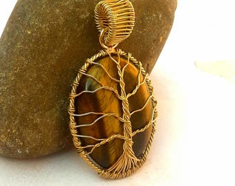 Wire wrapping pendant Brass Tigereye Pendant Mother day gift-for-mom gift-for-men gift-for-woman Tree of life pendant Brass pendant