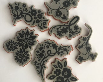 Rubber Stamp - Flowers - Scrapbooking - Card Making Supplies