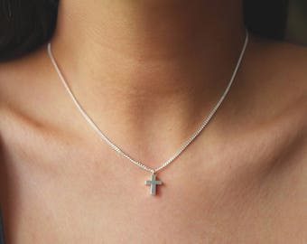 Very Tiny Cross necklace Sterling Silver