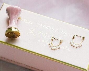Gold-filled Dainty Pearl Backdrop Earrings // bridal earrings / bridesmaid earrings/ sensitive skin earrings
