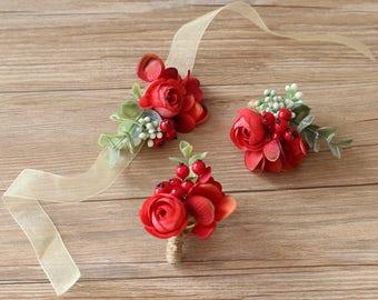 Hayden Red Ranunculus Silk Flower Corsage & Boutonniere
