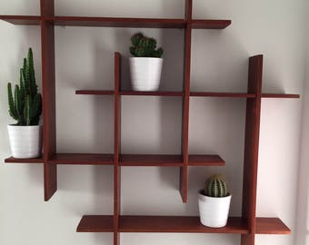 Teak wall shelf with square composition, Denmark 1970