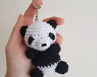 Amigurumi panda keychain / zipper charm / bag charm / plush toy