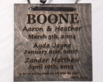 12x12 wood engraved personalized family sign--no finish