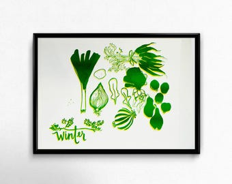 Winter Fruit and Vegetables Original Hand made Screen Print 1/50 A3 Poster Kitchen Seasonal Illustration Art Print Green and Yellow