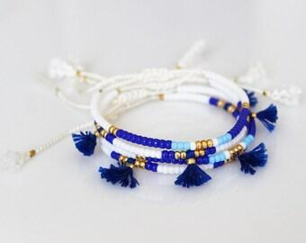 Beads bracelet friendship bracelet Silk Tassel Bracelet ONE adjustable bracelet-Beads on white silk cord