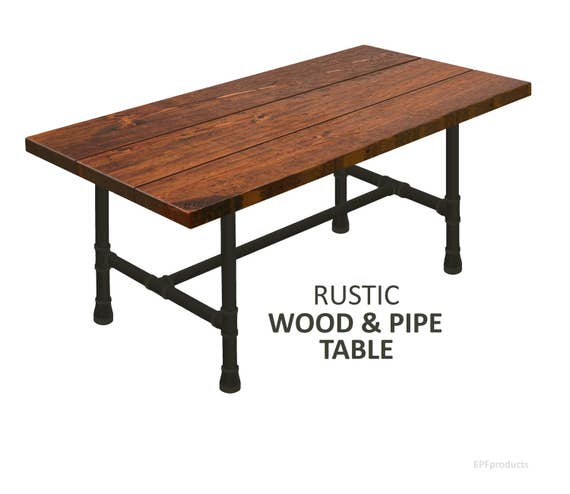Industrial modern table rustic wood pipe table trestle for Rustic pipe table