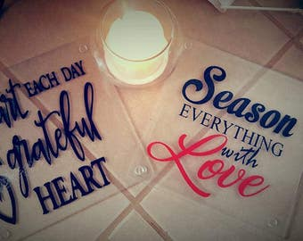 Set of Two Inspirational Glass Cutting Board Displays