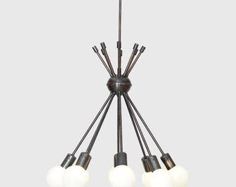 Modern Brass 8 Globe Sputnik Chandelier Light Fixture - Sputnik Starburst Chandelier