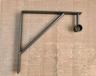 Powder Coated Handcrafted Industrial Bent Metal Shelf Bracket Closet Rod.  1 1/2