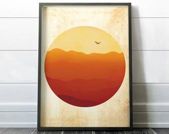 Landscape Wall Art, Home Decor Wall Art, Minimalist Poster, Orange Living Room Decor. Insta Download.