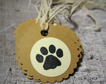 Dog Birthday Party Treat Bag Tags Set of 10 Brown and Cream with Paw Print