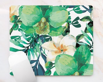 Tropical Mousepad Mouse Pad For Him Juicy Colors Tropical Flowers Green Flowers Mat For Office Workplace Decor Home Decoration Rubber Mat