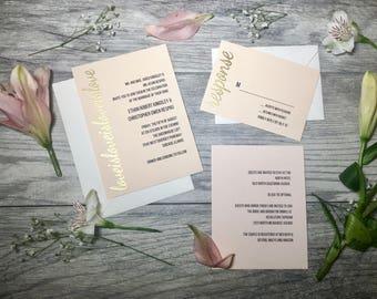Blush Love is Love is Love Wedding Invitations // Custom Wedding Invitations // Gay and Lesbian Wedding Invitations // Embossed Invitations