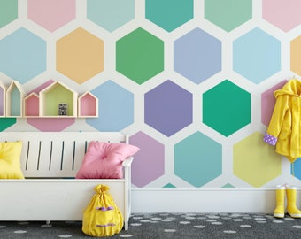 Multi Colored Hexagon Peel and Stick Wallpaper