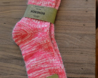 Pink and white socks