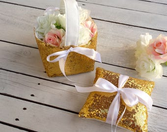 Gold sequin ring pillow, gold flowergirl basket