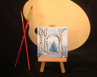 Acrylic Minature original painting with easle stand