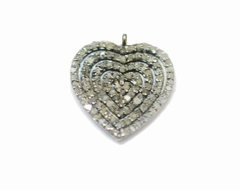 Christmas Sale - Genuine Diamond Silver Charm Pendant, Diamond Pave Heart Charm,925 Silver Diamond Pendant, Charm Jewelry.