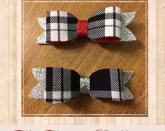 Black & White Tartan hair bow with glitter tail