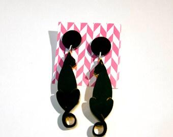Deco Cat Earrings, laser cut acrylic