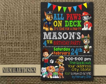 Paw Patrol Invitation, Paw Patrol Birthday, Paw Patrol Party, Paw Patrol Card, Paw Patrol Printable, Paw Patrol Party Invitation, Paw Patrol