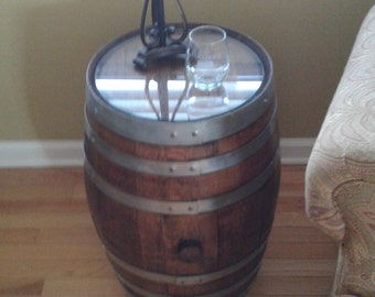 End table wine barrel
