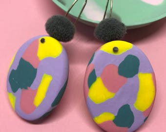 Statement earrings, polymer earrings, colour pop earrings. Lilac, yellow, aqua and pink. Grey pom.