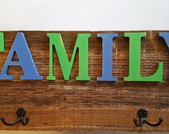 Family Sign, Slightly Distressed Paint, Apparel Hooks