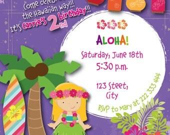 Aloha Hawaiian girl party invitation / birthday invitation / printable invitations