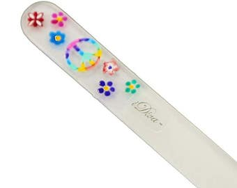 Hand Painted Hippie Peace Sign, (5.32inch) Crystal Glass Nail File in Suede sleeve
