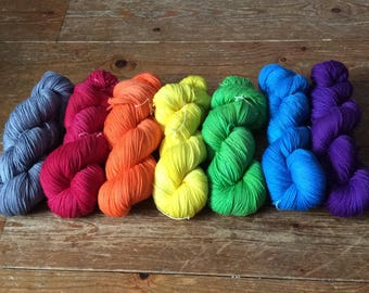 Hand dyed 4 ply Stormy Rainbow mini skein set 7 x 20g skeins, plain or sparkle base *SALE*