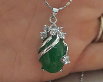 Solid Silver Necklace with Green Stone and Diamontes Pendant Charm