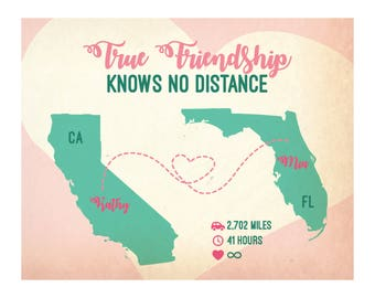 Long distance friendship, best friend gift, friendship map, friendship gift, gift for best friend, best friend long distance,true friendship