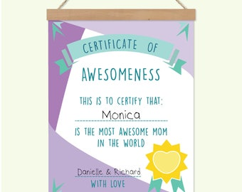 Certificate of Awesomeness, Best Mom Certificate, Personalized card for mom, Worlds best mom, Mothers Day Certificate, Gift for best mom
