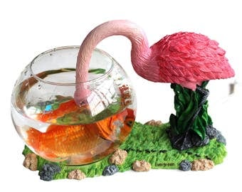 Decorative Glass Fish Bowl Aquarium Flamingo