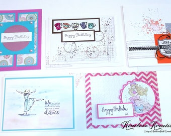 Embellished Handmade BIRTHDAY GREETING CARDS Stampin Up Set of 5