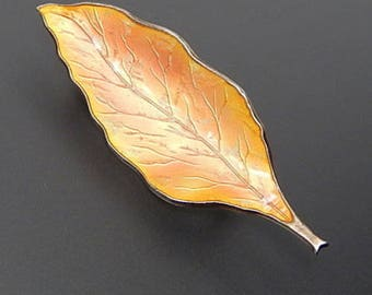 Denmark E. Dragsted mid xx century 925 silver enamel fall's leaf handmade brooch pin