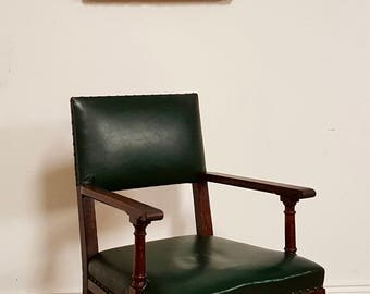SOLD Leather Vintage Green oak Office Chair Art Deco