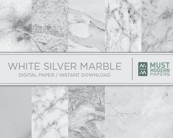 Silver White Marble Digital Paper, Silver marble paper, Silver paper, Marble backgrounds, Stone paper, Silver marble, Marble prints