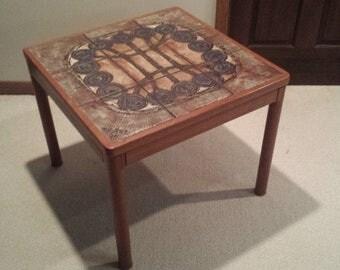 Vintage Danish teak tile top end table