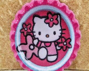 5 Hello Kitty 33mm Bottle Caps, Hair Bow Center, Hair Ribbon, Crafts