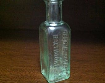 Antique Helwig & Leitch Baltimore, MD Glass Vintage Medicine Bottle USA