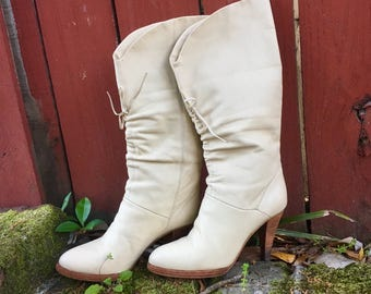 Genuine cream leather vintage high heel cowgirl boots