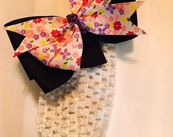 Black and Floral Bow w/ Stretchy Headband