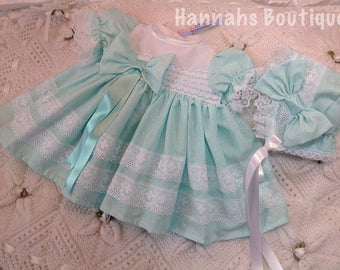 Hannahs Boutique newborn baby pale green frilly dress and bonnet set. Free p&p